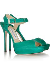 Jimmy Choo Linda Watersnake Sandals - Lyst