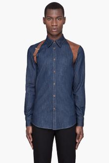 Alexander McQueen Blue Denim Harness Shirt - Lyst