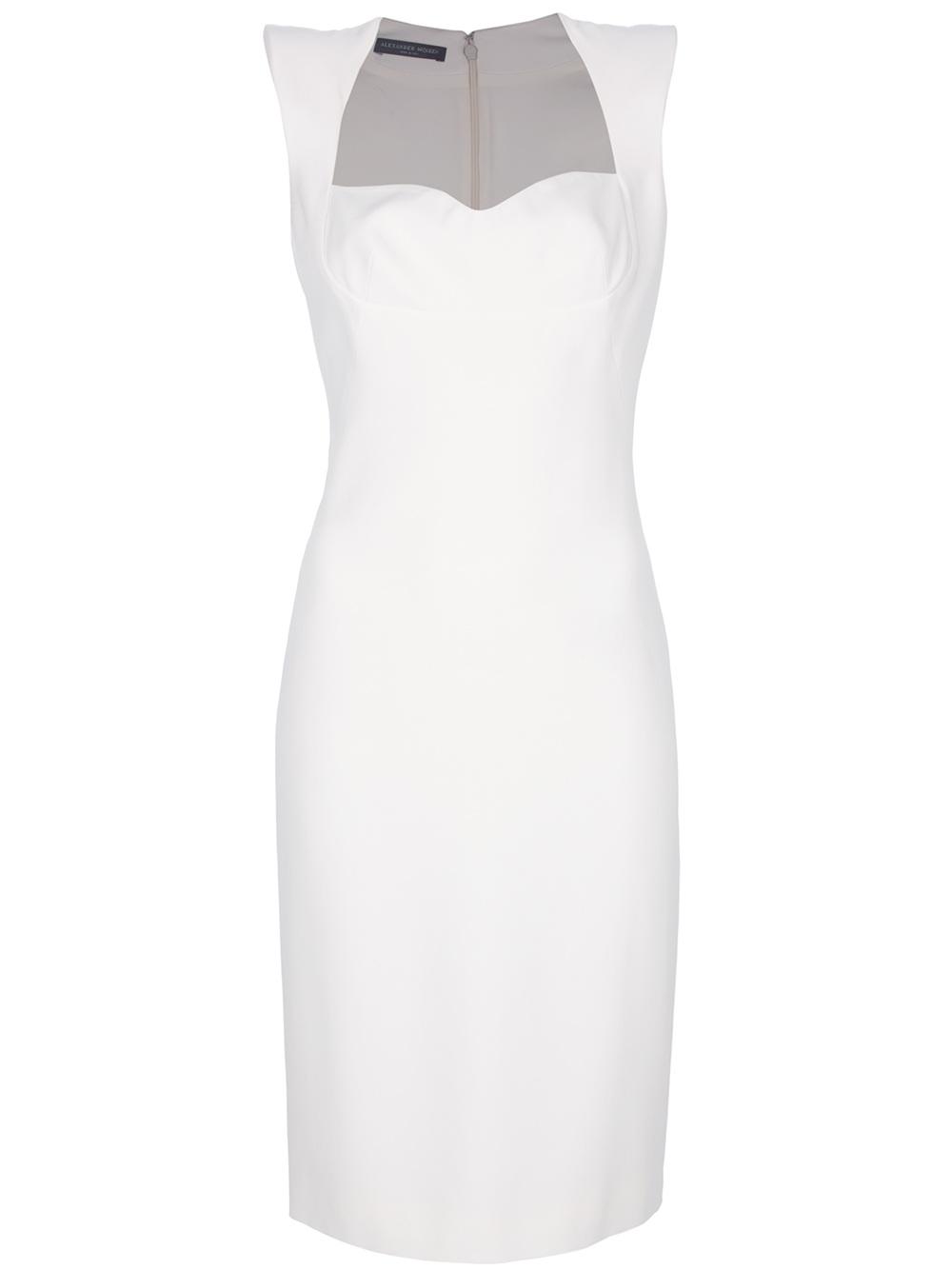 b071beec84a Alexander McQueen Crepe Pencil Dress in White - Lyst