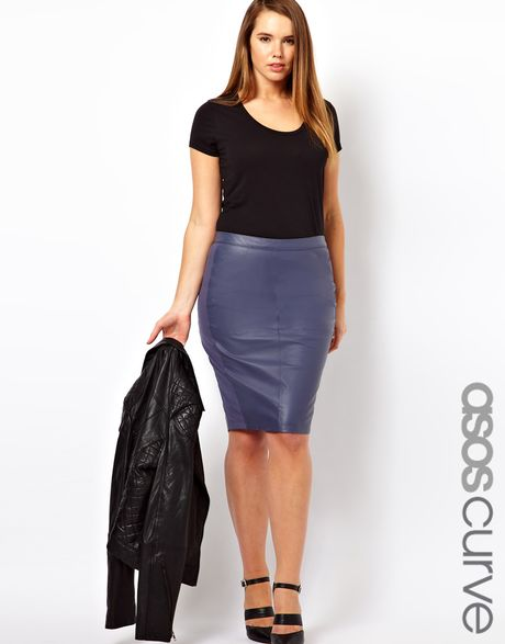 asos asos curve exclusive leather pencil skirt with jersey