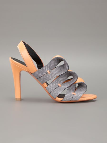Balenciaga Strappy Sandal In Gray Orange Lyst