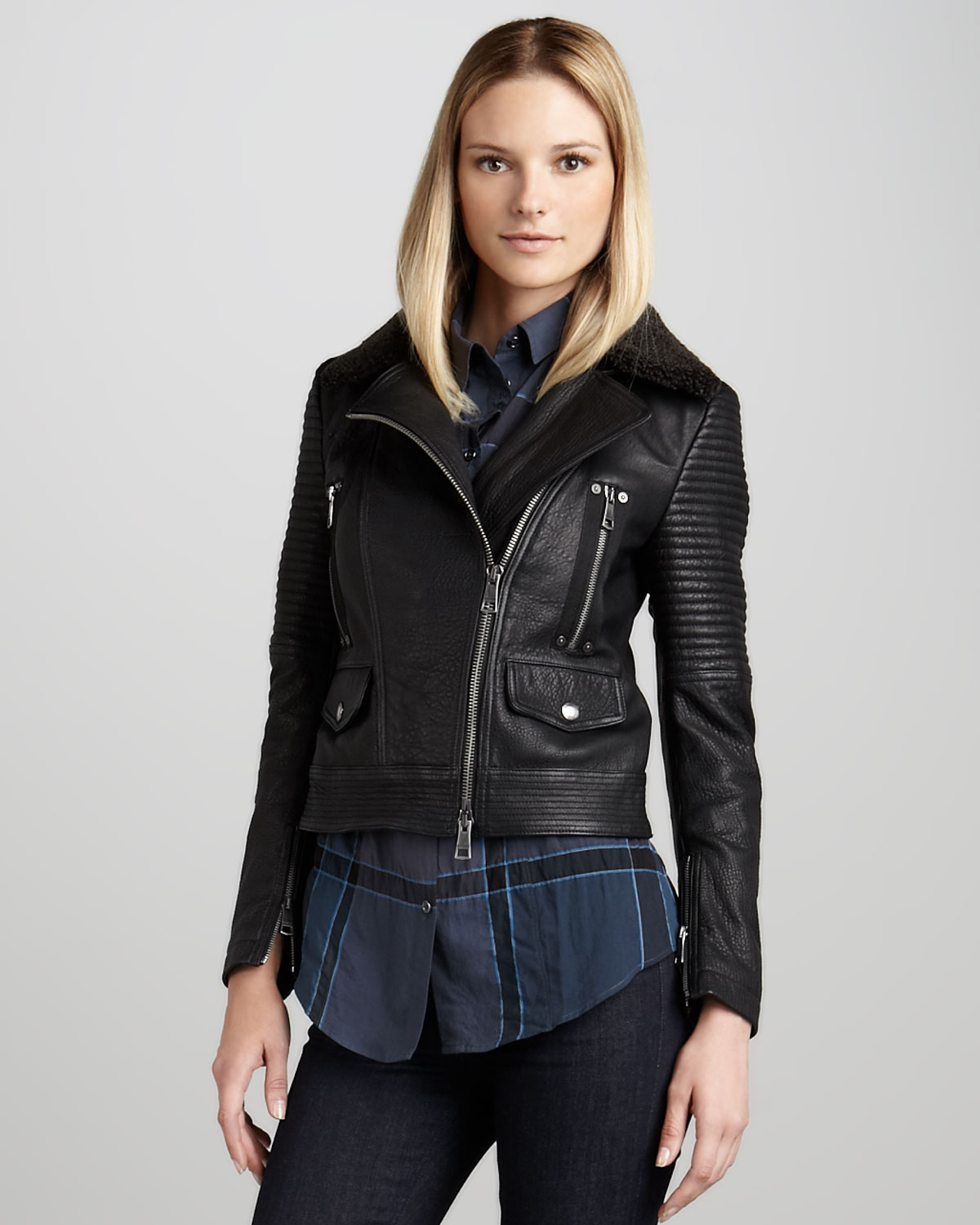 Burberry brit Washed Leather Motorcycle Jacket in Black | Lyst