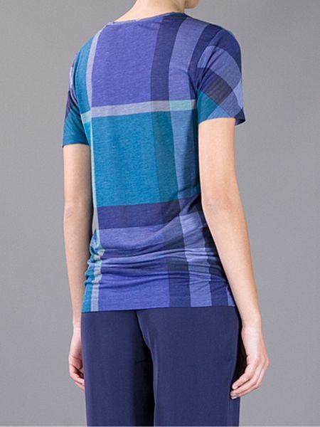 Burberry Brit Plaid Print Tshirt In Blue Lyst