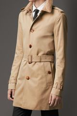 Burberry Midlength Cotton Gabardine Ostrich Leather Collar Trench Coat - Lyst