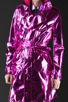 Burberry Prorsum Metallic Silk Trench Coat - Lyst