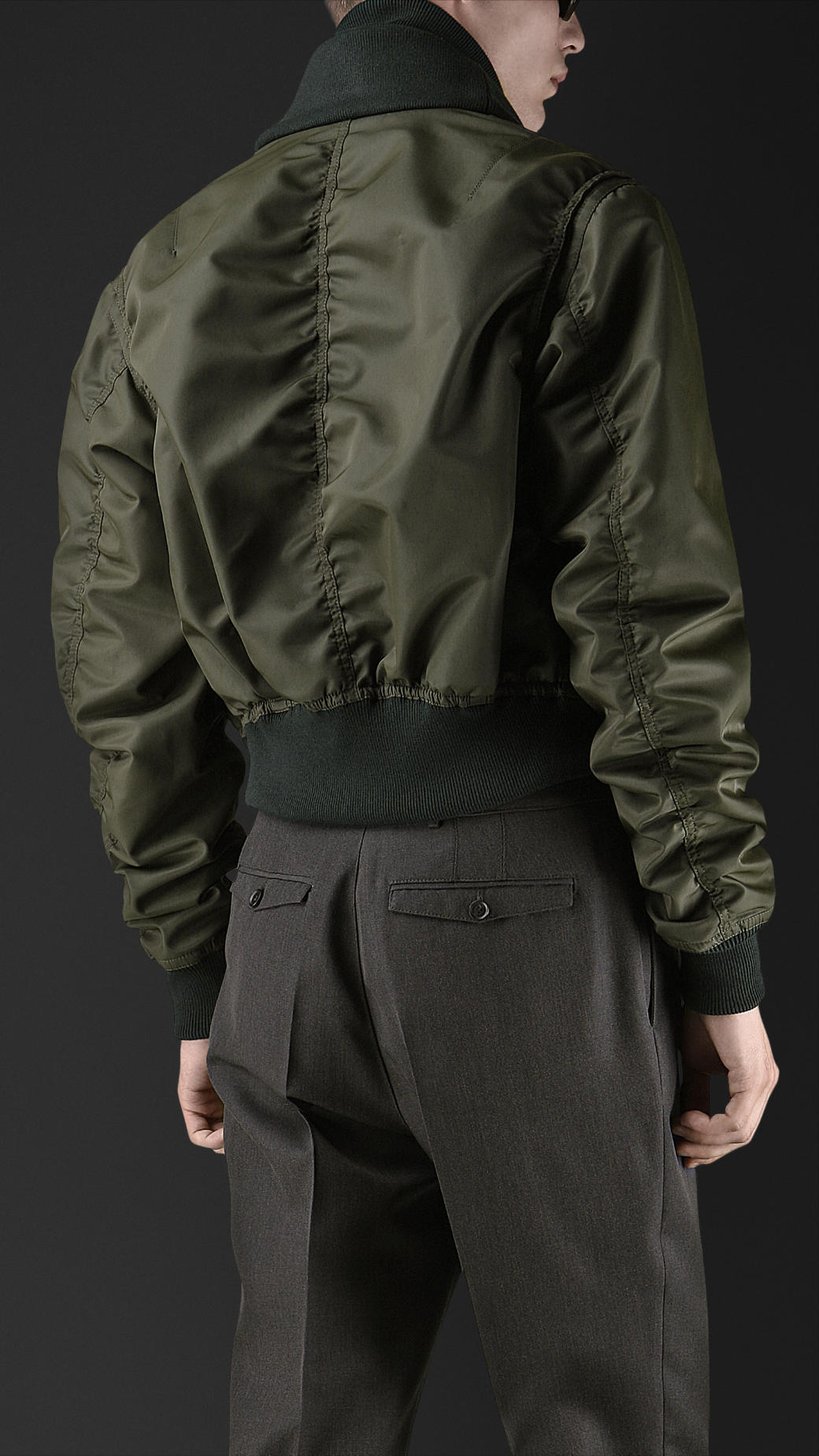 Lyst Burberry Prorsum Cropped Nylon Bomber Jacket In