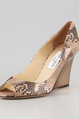 Jimmy Choo Baxen Peeptoe Snakeprint Wedge Pump - Lyst