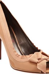 Lanvin Peep Toe Pump with Grosgrain Bow - Lyst
