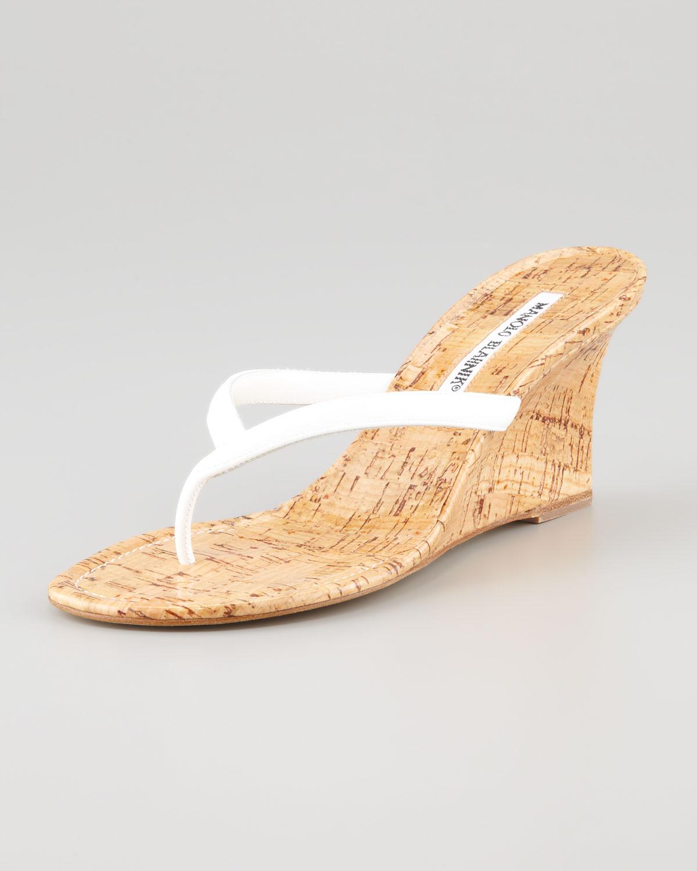 a69a6b6ee41fbc Lyst - Manolo Blahnik Patwedfac Patent Thong Sandal White in Brown