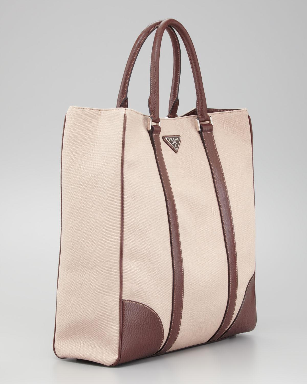 1f1f6c948c53 ... cheap lyst prada canvas leather tote bag in natural for men 19041 e494f
