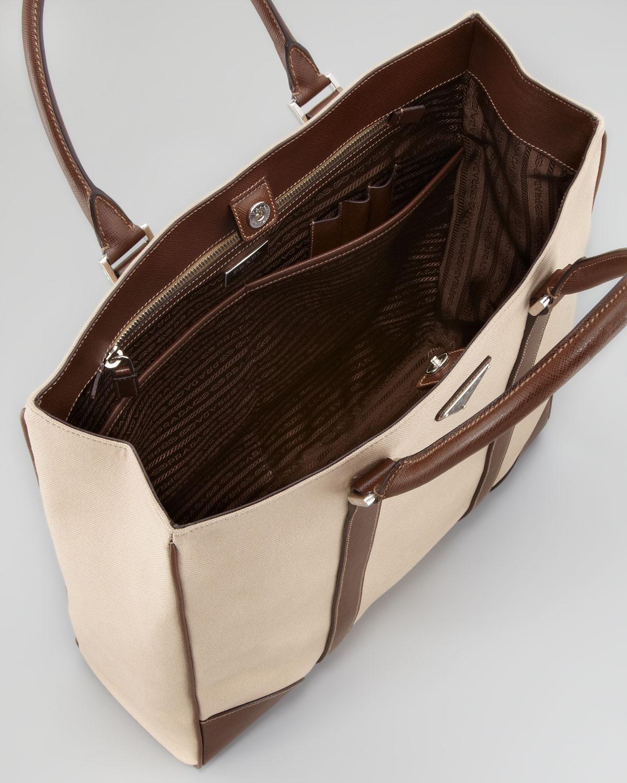 Prada Canvas Leather Tote Bag in Beige for Men (beige brown) | Lyst