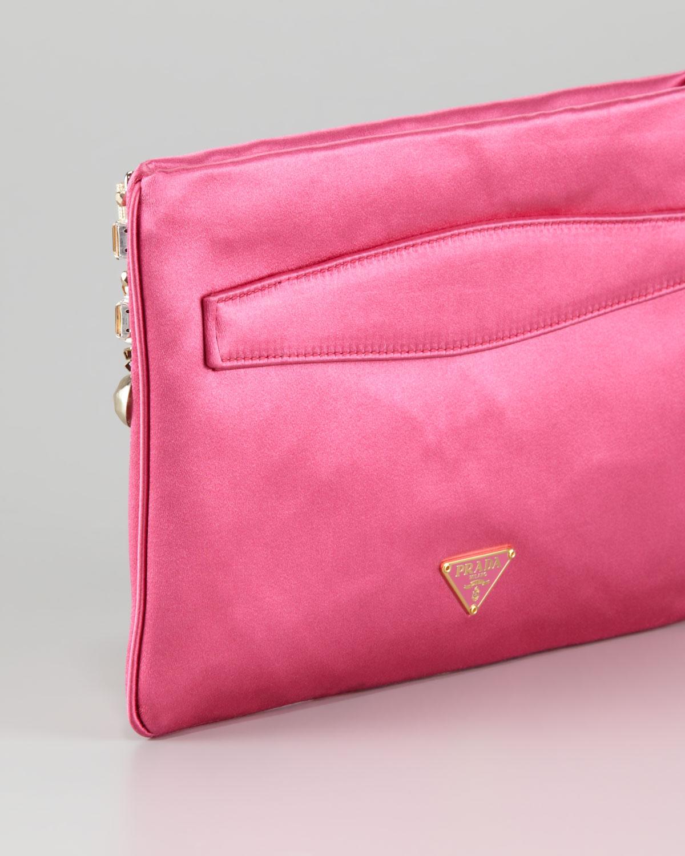 b5fb4fdf8b49 ... inexpensive lyst prada jeweled satin clutch bag in pink ac45a 4bce0 ...