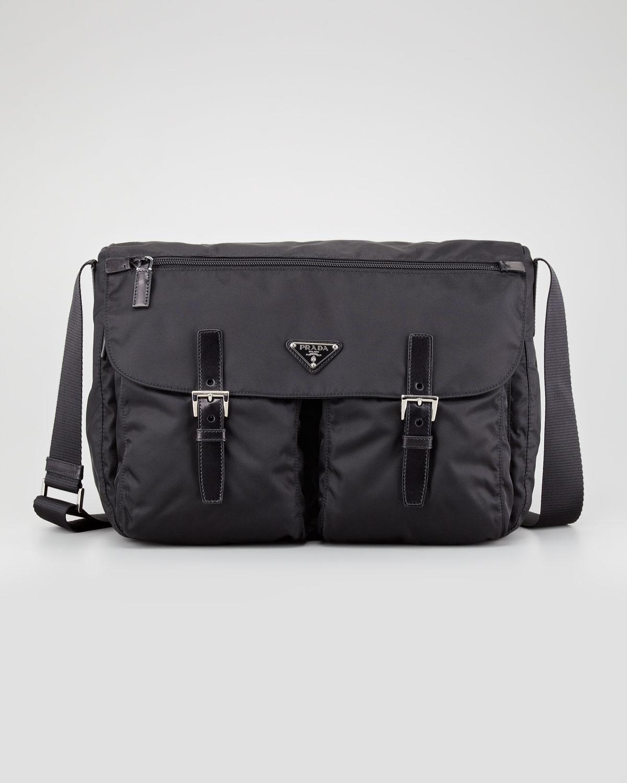 fd5ccb5bb43a Lyst - Prada Vela Buckled Messenger Bag in Black