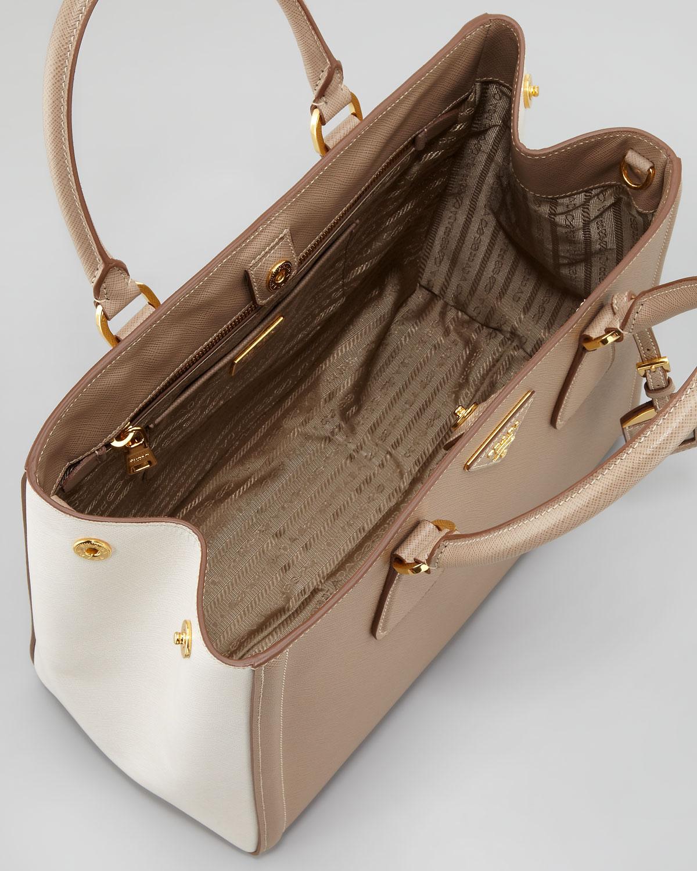 9ee254401e7e ... reduced prada saffiano twotone tote bag in brown lyst 346bf 9539f