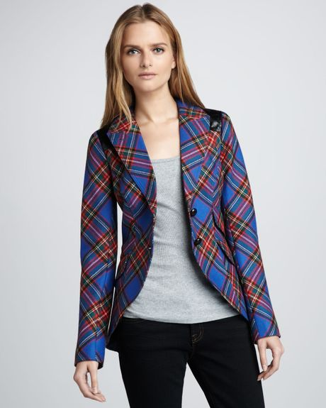 Smythe Plaid Equestrian Blazer In Red Cobalt Lyst