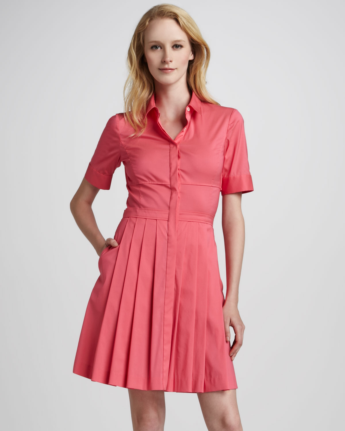090dd22b3d6 Theory Sensa Pleat Skirt Shirt Dress in Pink - Lyst