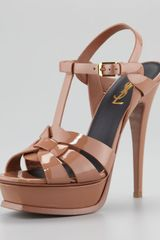 Yves Saint Laurent Tribute Patent Leather Sandal - Lyst