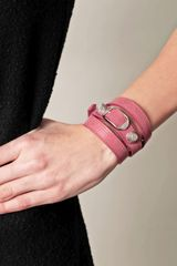 Balenciaga Studded Leather Bracelet in Pink (rose) - Lyst
