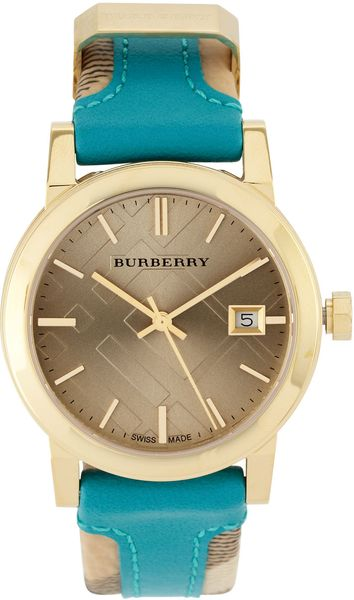 Burberry Checkengraved Watch in Blue (null) - Lyst