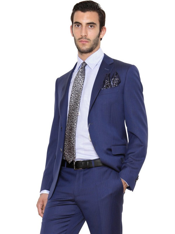Lyst Canali Single Breasted Wool Slim Fit Suit In Blue