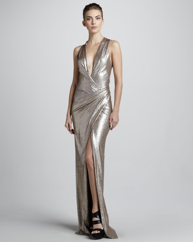 Lyst - Donna Karan Metallic Plungingneck Evening Gown in Metallic