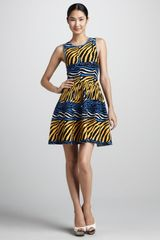 Issa Zebra Print Fit and Flare Dress - Lyst