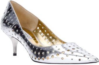Jimmy Choo Perforated Metallic Shoe - Lyst