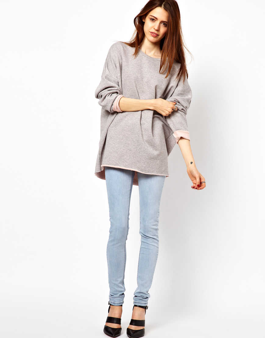 Just female Oversized Sweatshirt in Gray | Lyst
