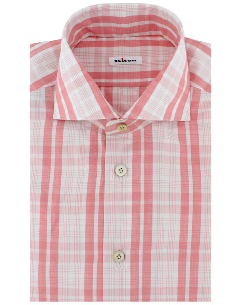 Kiton White And Coral Plaid Dress Shirt In Pink For Men