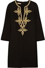 Michael Kors Embroidered Woolcrepe Tunic Dress - Lyst