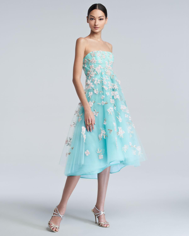 de67b669fd Oscar de la Renta Floral Embroidered Tulle Cocktail Dress in Blue - Lyst