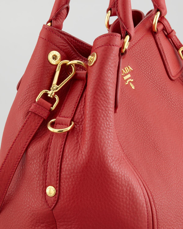 8947034407a3 Lyst - Prada Vitello Daino Tote Bag in Red
