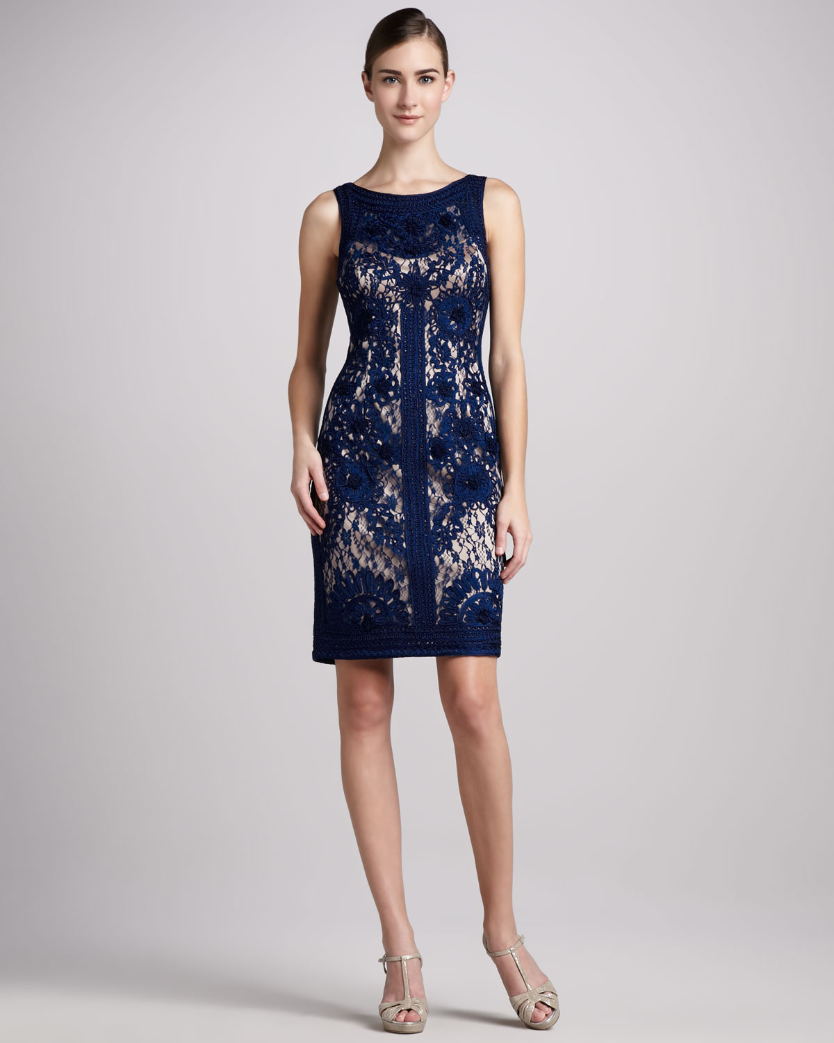 Sue wong Sleeveless Lace Cocktail Dress in Blue | Lyst