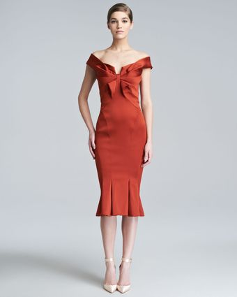 Zac Posen Duchess Satin Fitted Dress - Lyst