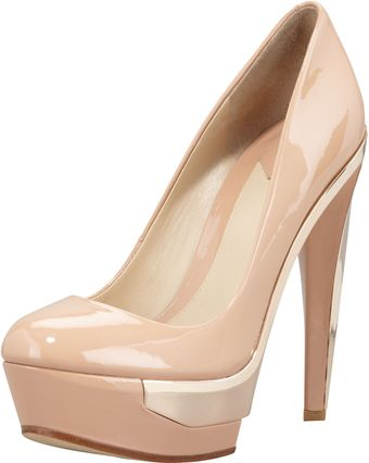 B Brian Atwood Platform Metaldetail Pump Light Natural - Lyst