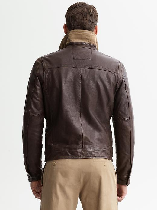 Lyst Banana Republic Fourpocket Leather Jacket In Brown
