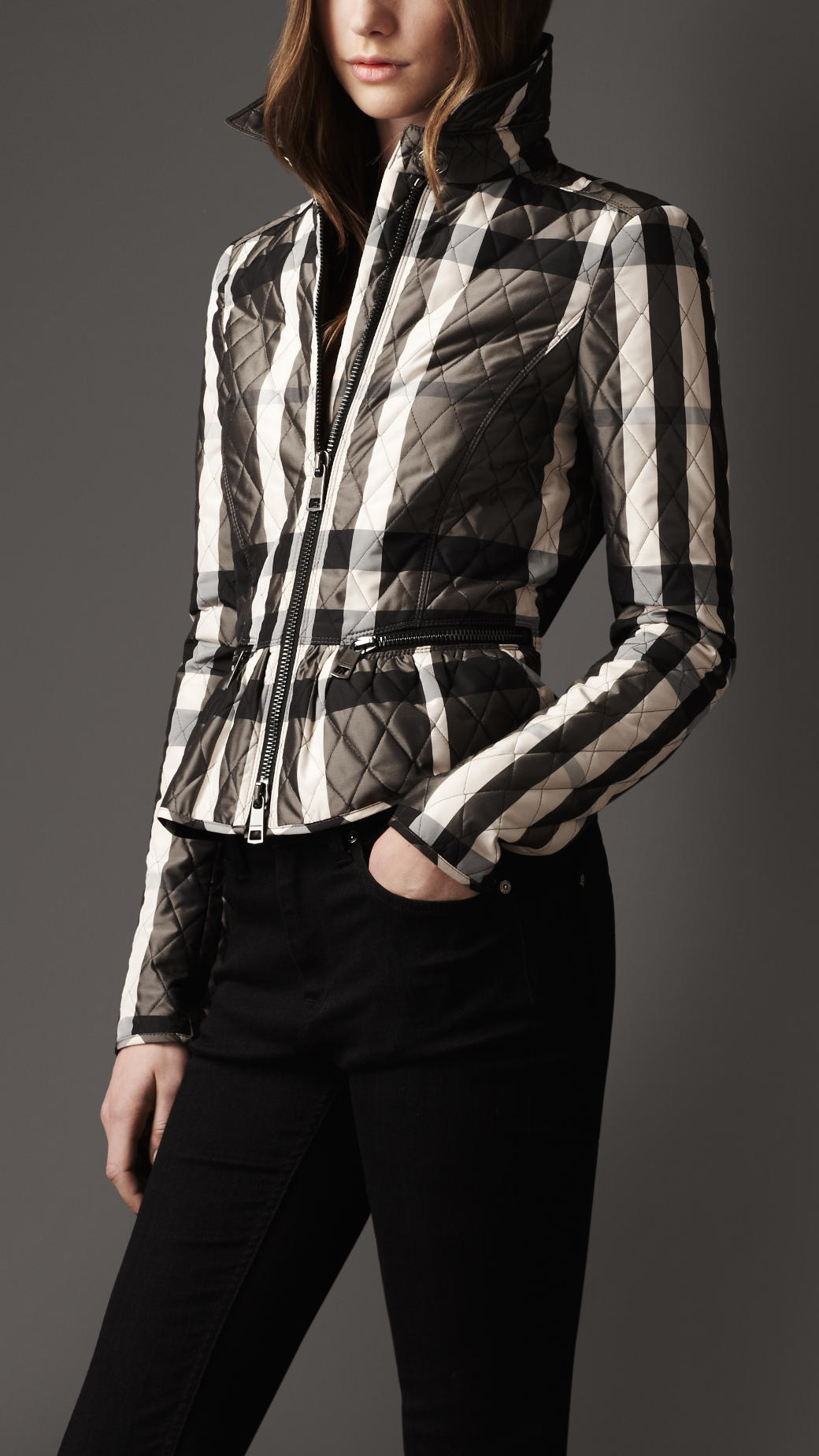 Burberry Check Quilted Peplum Jacket In White Beat Check