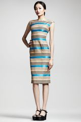 Dolce & Gabbana Striped Cap Sleeve Dress - Lyst
