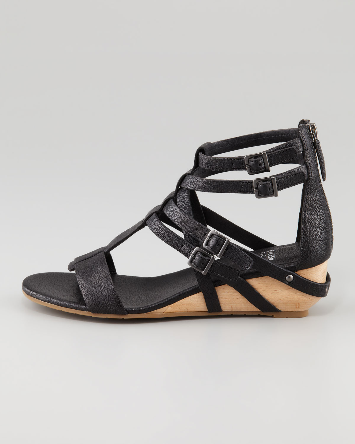 Lyst Eileen Fisher Low Wedge Gladiator Sandal In Black