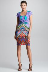 Etro Cap Sleeve Knot Waist Dress - Lyst