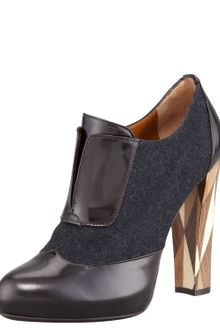 Fendi Wuthering Heights Wool Leathertrim Bootie - Lyst