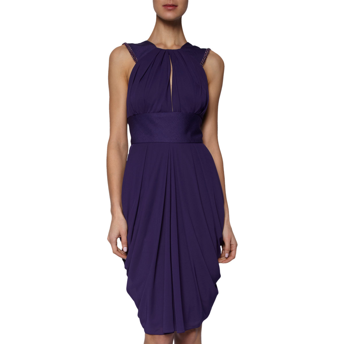 J. Mendel Beaded Halter Dress in Purple -