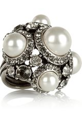 Lanvin Glass Pearl and Crystal Ring - Lyst