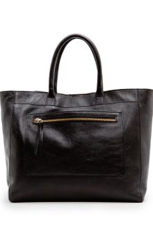 Mango Pocket Leather Tote - Lyst