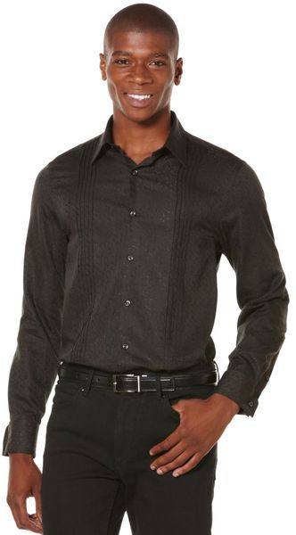 Perry Ellis Long Sleeve Button Down Paisly Shirt in Black for Men