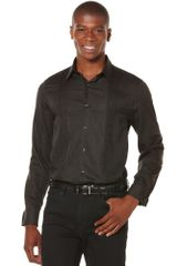 Perry Ellis Long Sleeve Button Down Paisly Shirt in Black for Men - Lyst