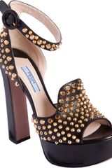 Prada Peep Toe Studded Sandals - Lyst