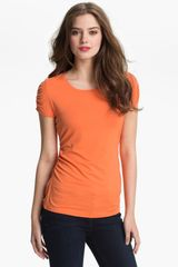 Vince Camuto Ruched Scoop Neck Top - Lyst
