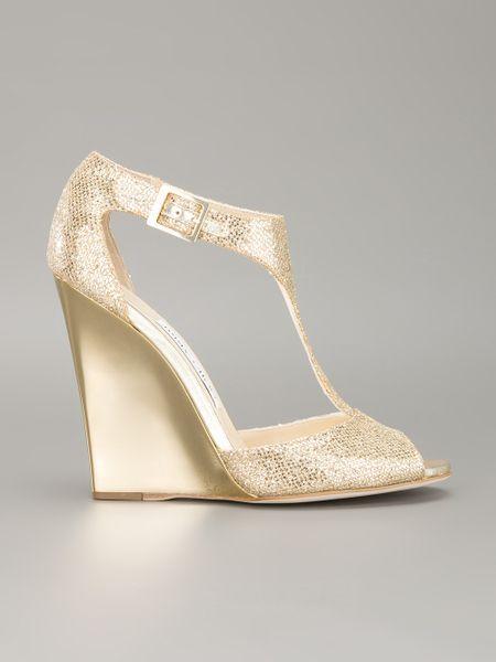 Jimmy Choo Tweak Wedge Sandal In Beige Champagne Lyst