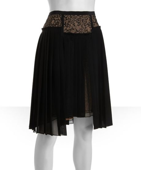 bcbgmaxazria black lace and tulle overlay accordion